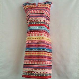 NWT Talbots Dress Pink Blue Yellow White Silk 16